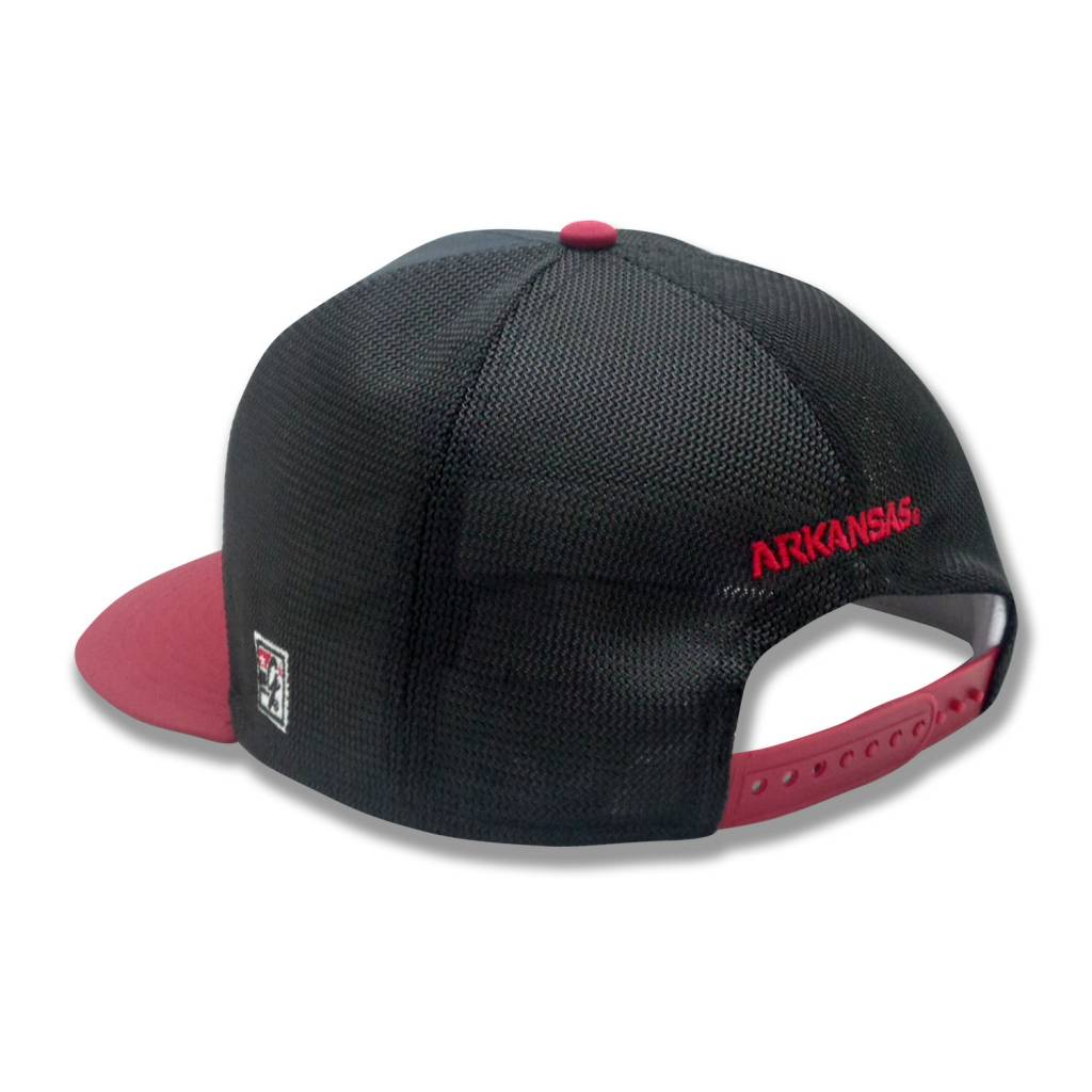 "The Game Arkansas Razorback Flat Bill Baseball Diamond Mesh ""A"" Game Changer Hat By The Game"