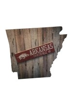 "Fan Creations Arkansas Razorback 24""  State Plank Sign"