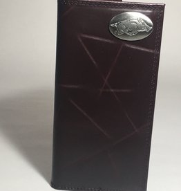 Arkansas Razorback Brown Wrinkle Concho Checkbook Wallet