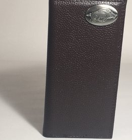 Arkansas Razorback Brown Pebble Grain Concho Checkbook Wallet