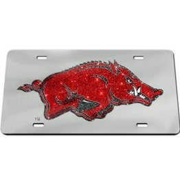 Mirrorized Red Sparkly Running Hog License Plate