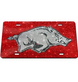 Razorback Silver Hog Sparkle License Plate