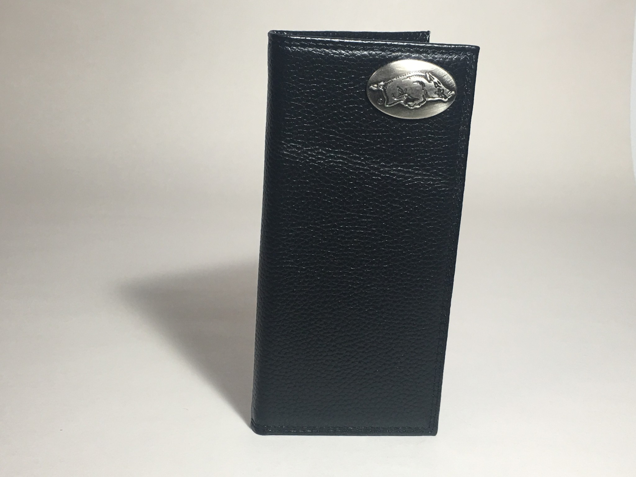 Arkansas Razorback Black Pebble Grain Concho Checkbook Wallet