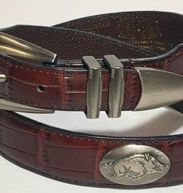 Arkansas Razorback Brown Crock Leather Concho Belt