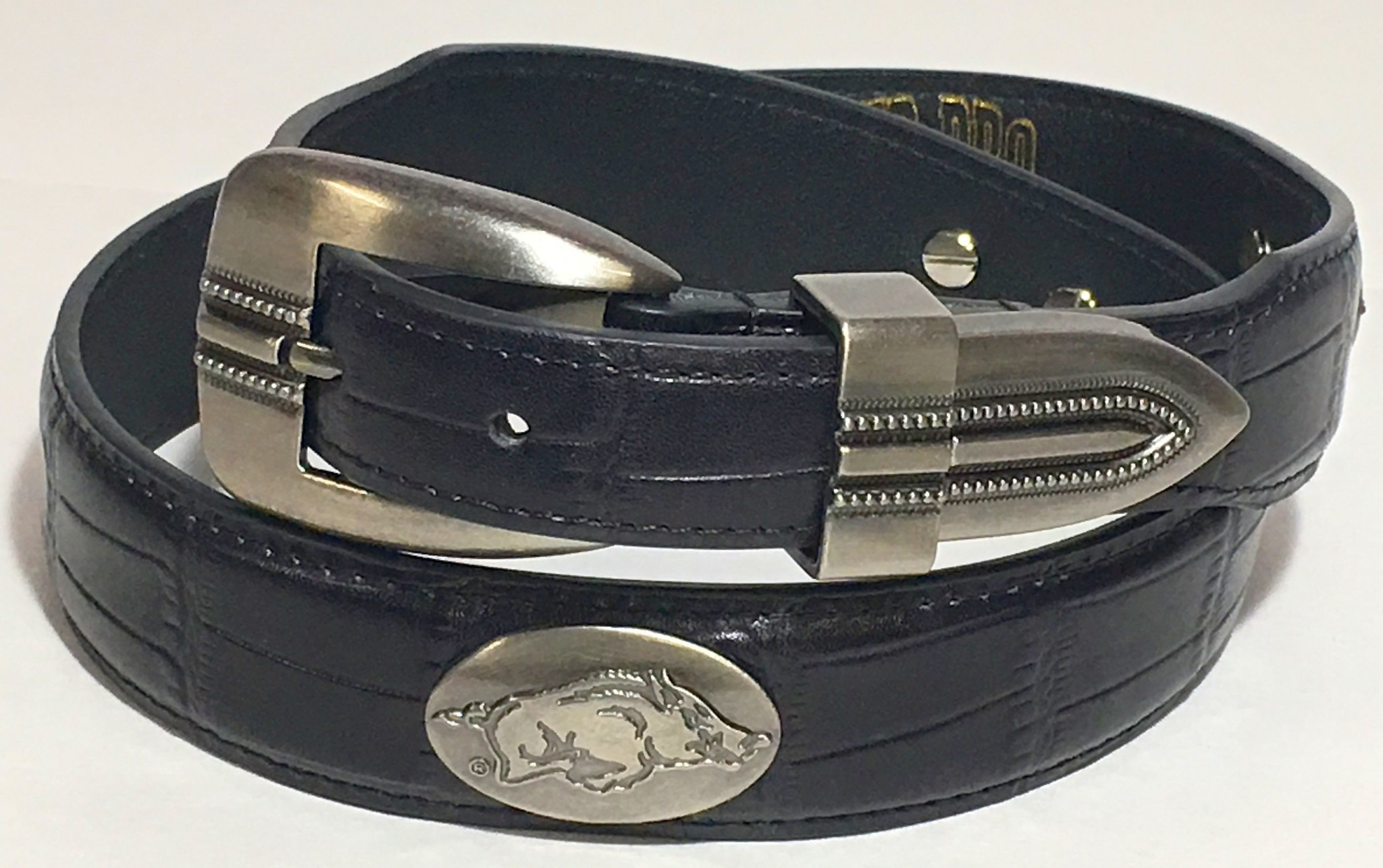 Arkansas Razorback Black Crock Leather Concho Belt
