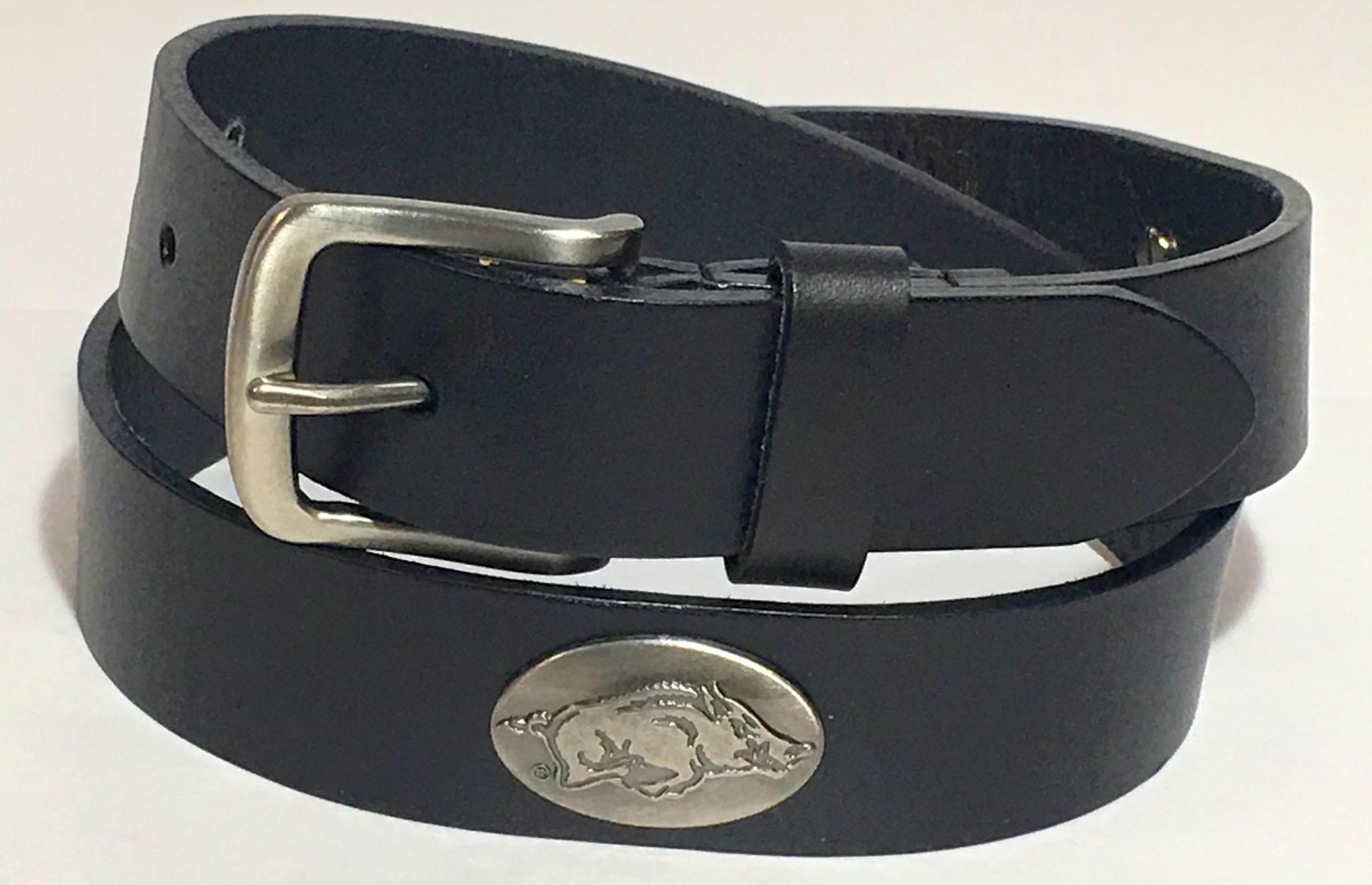 Arkansas Razorback Black Leather Concho Belt