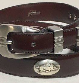 Arkansas Razorback Leather Concho Belt