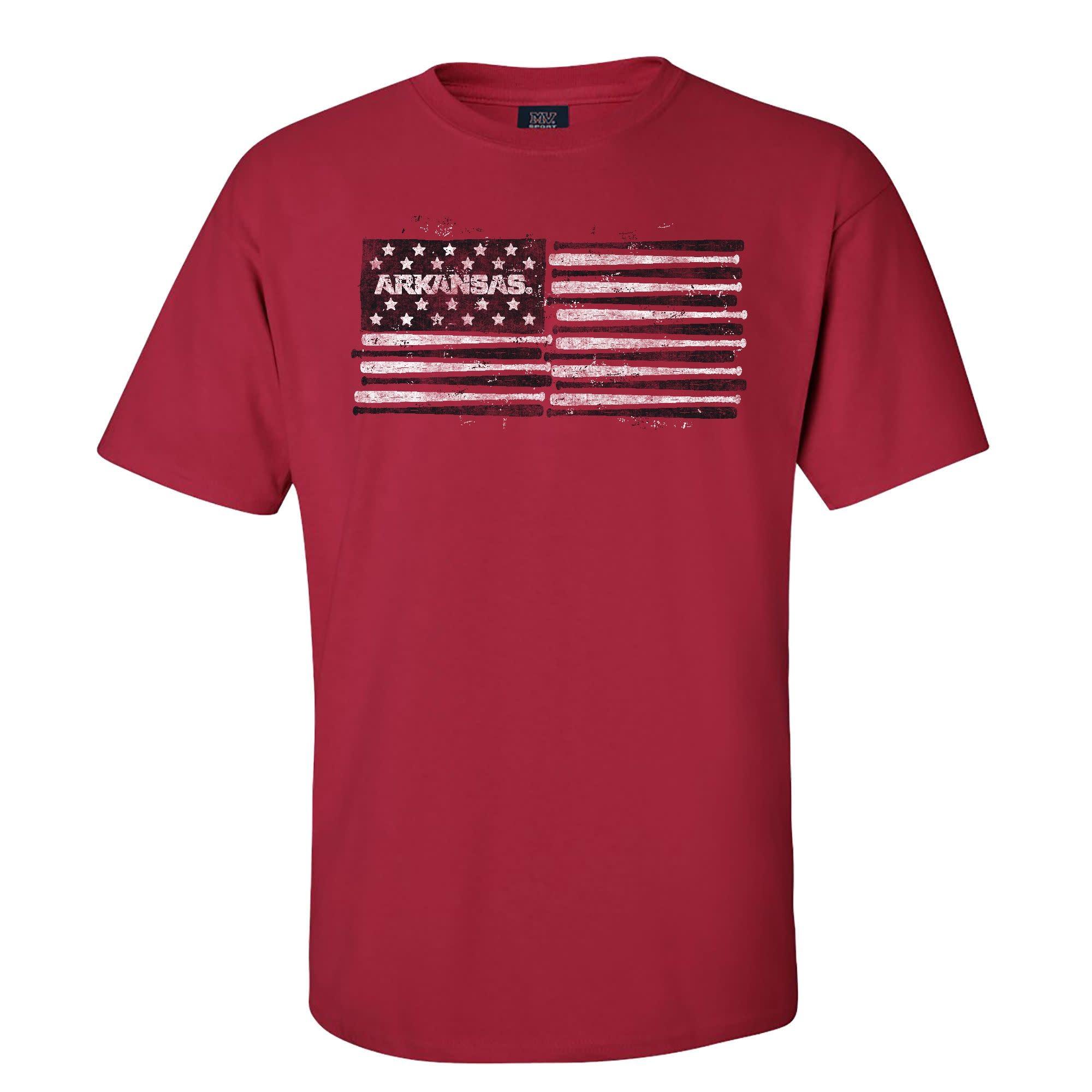 Arkansas Razorback Baseball / Softball Flag Short Sleeve Tee