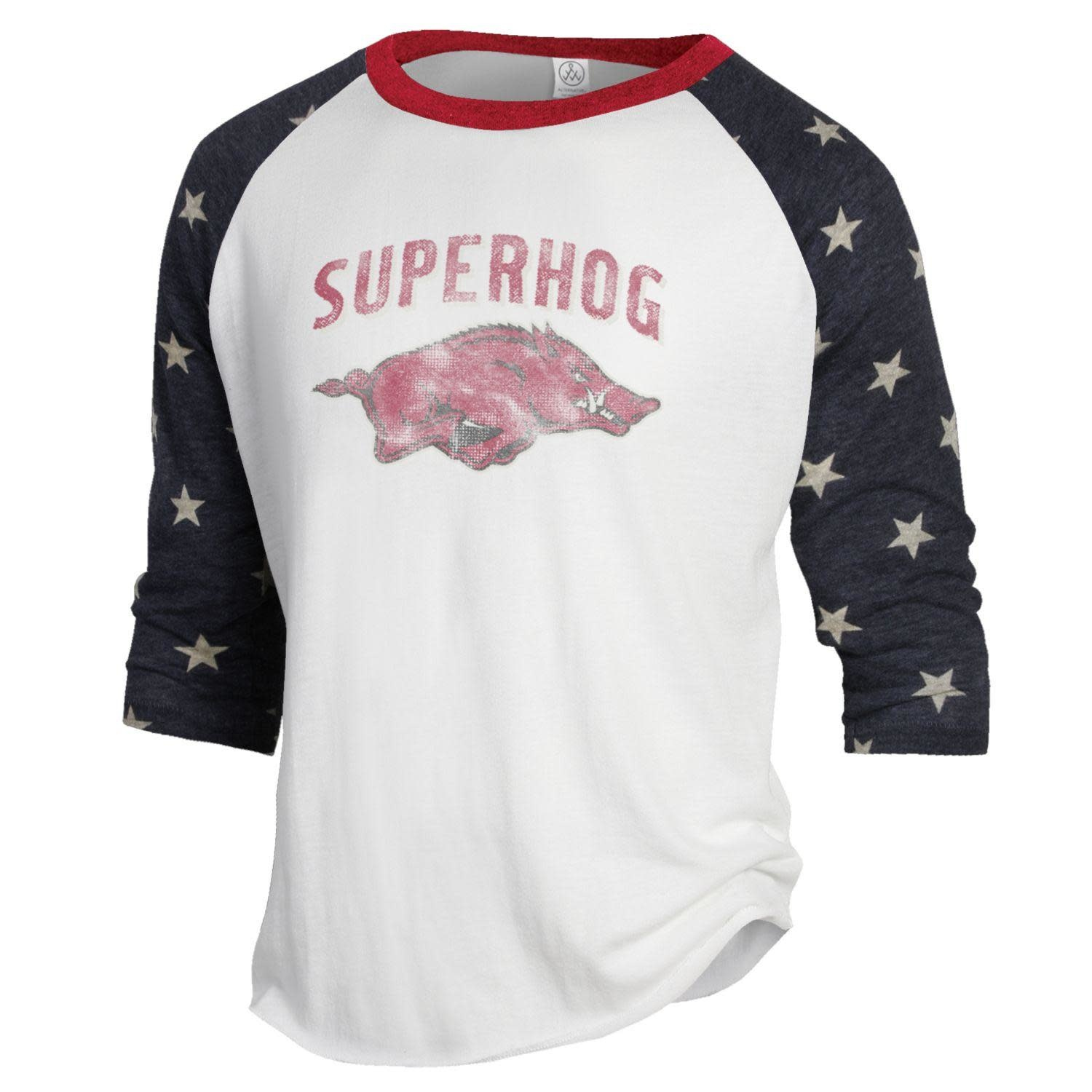 Alternative Arkansas Razorback Superhog Stars Baseball Tee