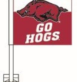 University Blanket & Flag Car Flag White/Red GO HOGS
