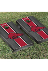 Victory Tailgate College Vault Regulation Cornhole Set Onyx Stained Stripe