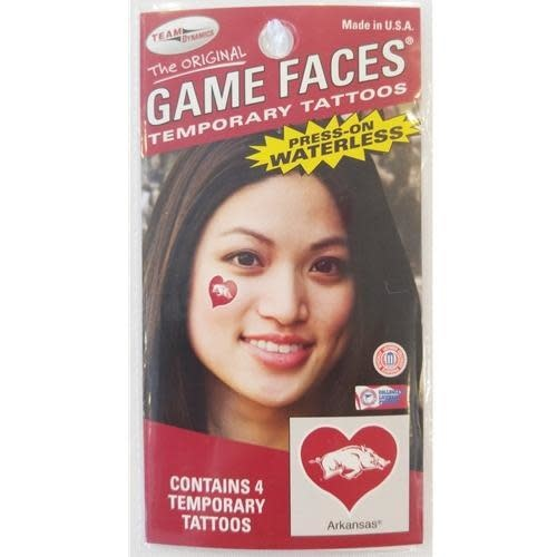 Game Faces Razorback in a Heart Temporary Waterless  Face Tattoo