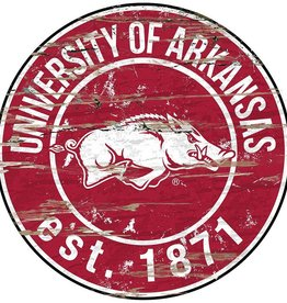 Fan Creations Arkansas Razorbacks Vintage looking Round Wall Art