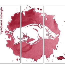 Victory Tailgate Razorback Triptych Watercolor Canvas Wall Art