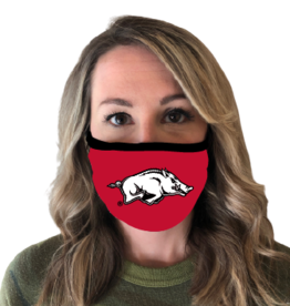 AR ClothMasks Razorback (White Logo) on Red Mask with Black Trim