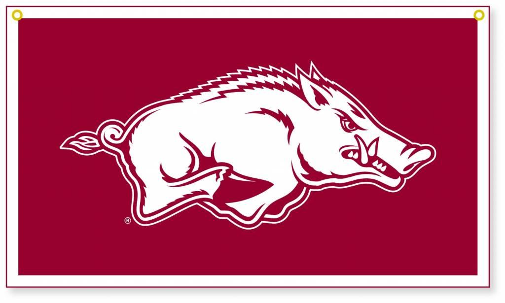 Collegiate Pacific Arkansas Razorback Running Hog Felt & Flock 14x24 Banner