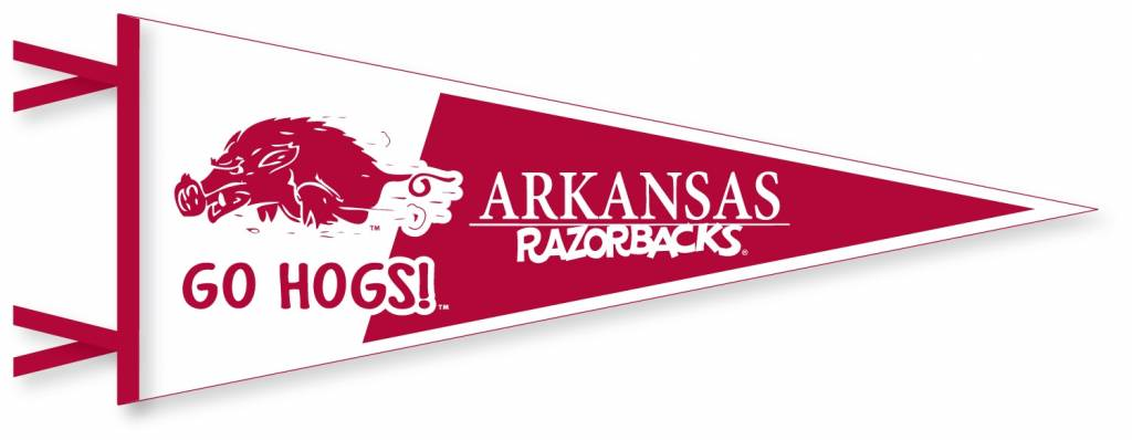Vintage Arkansas Razorback Running Hog Old School 12x30 Felt