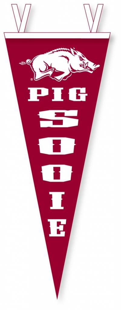 "Collegiate Pacific Arkansas Razorback Running Hog Pig Sooie 12"" X 30"" Vertical Felt Pennant By Collegiate Pacific"