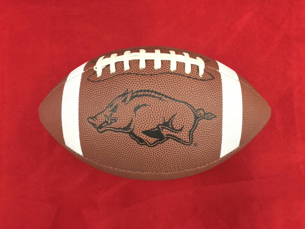 Arkansas Razorback Official Size Xcel Gold Football By Game Master ... 3e49252f246