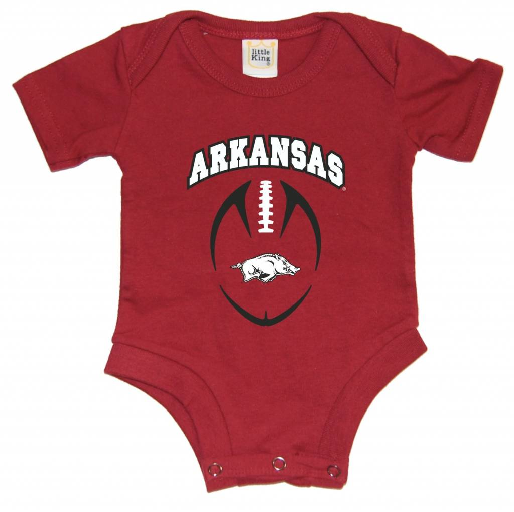 Arkansas Razorbacks Ncaa Football Field Runner Man Cave: Razorback Diaper Shirt Football Romper By Little King