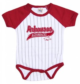 Little King Razorbacks Infant Baseball Stripe Romper