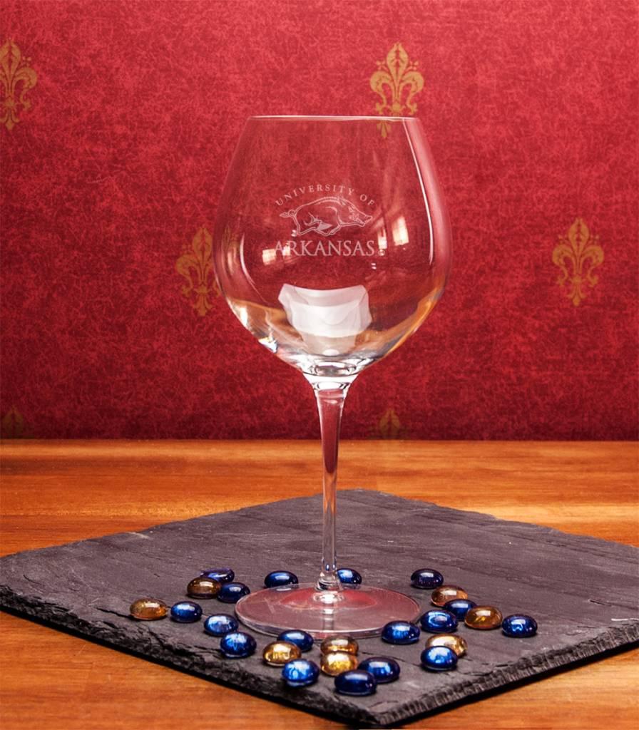 Arkansas Razorbacks Ncaa Football Field Runner Man Cave: Razorback Etched Crystal Robusto Wine Glass By Campus
