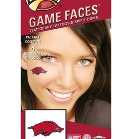 Game Faces Razorback Waterless Face Tattoos 4PK