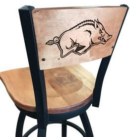 Holland Bar Stool Laser etched Razorback wood swivel stool - DS