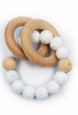 Pois et Moi Pois et Moi Wood silicone Dahlia rattle