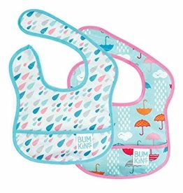 Bumkins Bib 2 pack - Raindrops, Umbrella