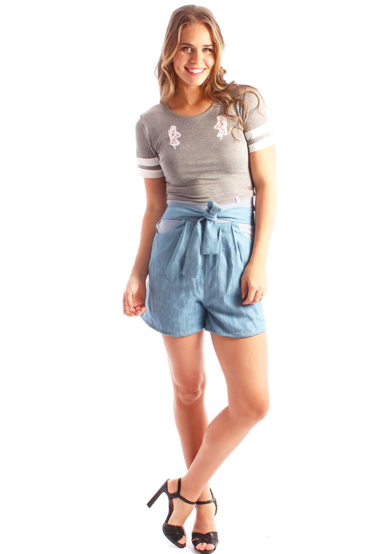 LDP Chambray high waisted shorts