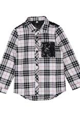 Birdz Birdz plaid sequin flannel holiday shirt girl