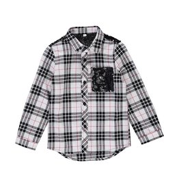 Birdz Birdz plaid sequin flannel holiday shirt