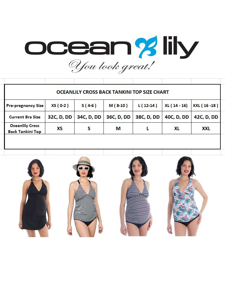 Oceanlily maternity tankini top tropical floral