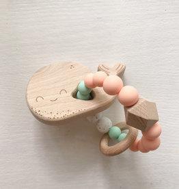 Pois et Moi Pois et Moi Wood silicone animal rattle