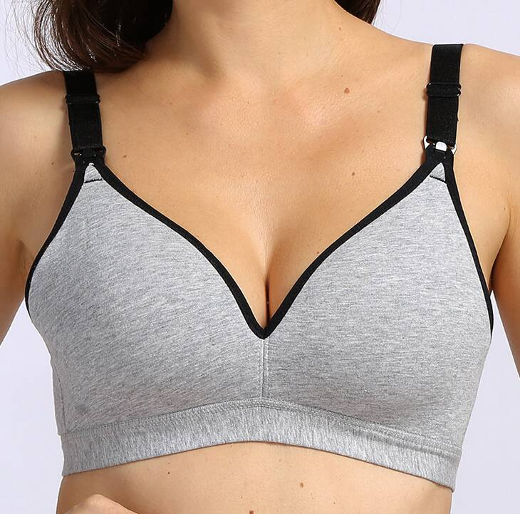 June   Dane Cotton non-wire t-shirt bra in Grey - Evymama Nursing ... e0812c498405