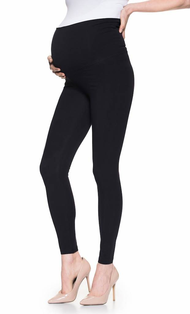 Black cotton maternity leggings