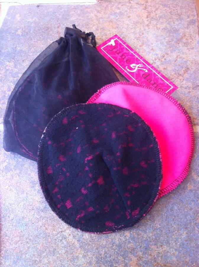 June & Dane Cotton Washable Nursing Pads - Cabaret with Black Lace