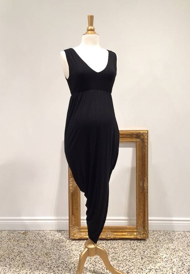 June & Dane Hi-Lo nursing & maternity dress in Black