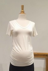 June & Dane Ruched maternity t-shirt in Cream