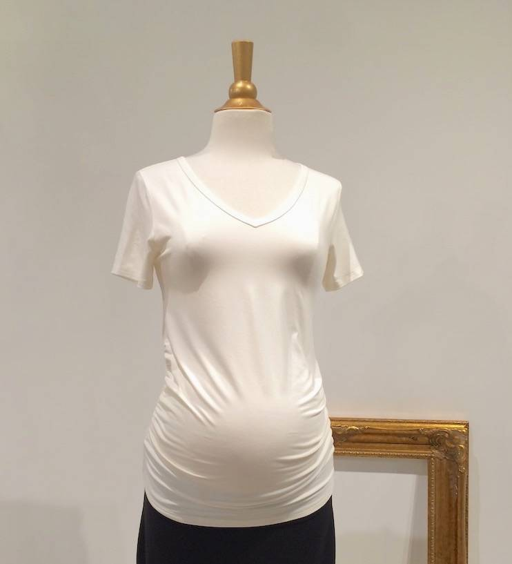 June & Dane Ruched maternity t-shirt in Cream