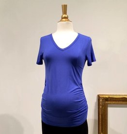 Blue ruched maternity t-shirt