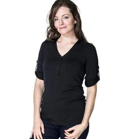 Sadie button up nursing top in Black