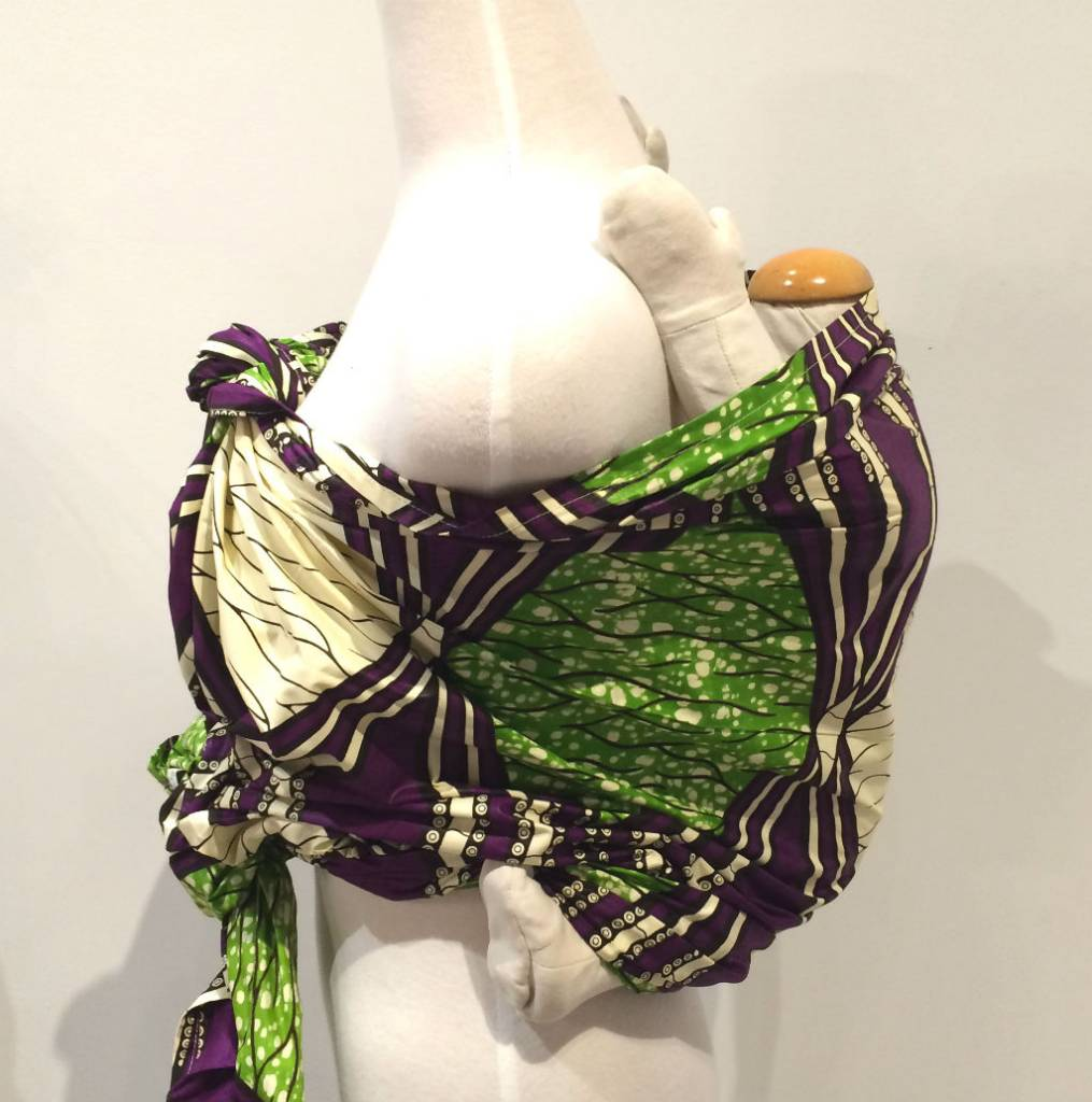 Maman Kangourou African Kanga wrap - Lime Grape