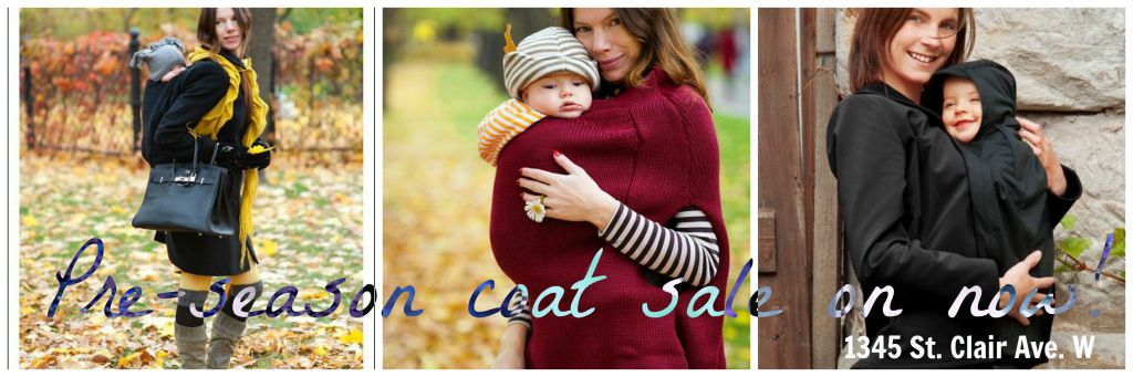 Annual babywearing coat and maternity coat sale is on at our Toronto store & online!