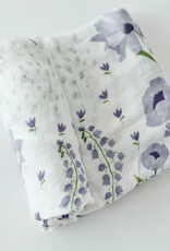 Little Unicorn Deluxe Muslin Swaddle- Blue Wildflower