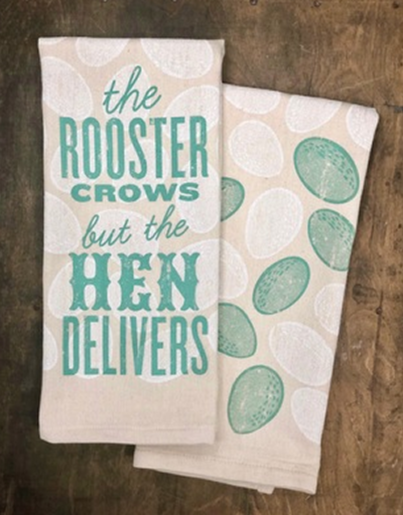 Southern Fried Design Barn The Rooster Crows but The Hen Delivers Kitchen Towel
