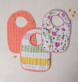 Cotton Muslin Classic Bib 3 Pack - Cabana Stripe
