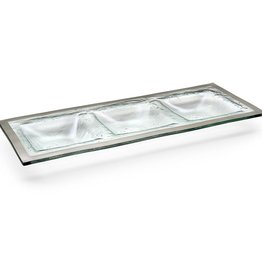 Annie Glass Annie Glass Three Section Tray Platinum 14 x 5 1/2""