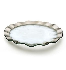 Annie Glass Annie Glass Ruffle Buffet Plate Platinum 13""